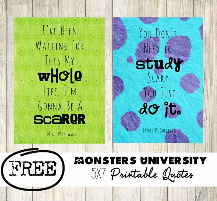 Monsters University Printable Quotes & other printable freebies