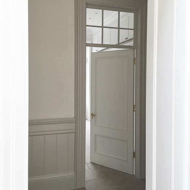 Bespoke Door And Panelled Walls With Glass Panel Above Door To Let Light And Shadows Into Hallway In 2020 Internal Glass Doors Glass Doors Interior Internal Doors