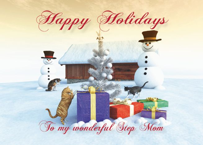 Cats Gifts Christmas Tree And Snowman Scene For Step Mom Card