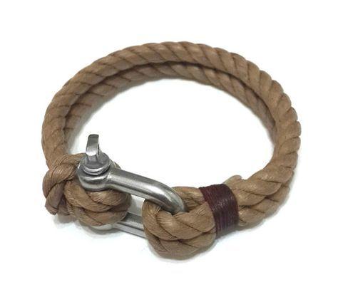 Náutica navegación pulsera pulsera de acero inoxidable grillo - brazalete de Paracord - Mens - joyería para hombre - ropa de pulsera de cuerda - marrón