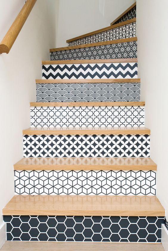 Maison individuelle - Agence 19 DEGRES - Architecture à Rennes. Par Caroline Ablain Photographe. Escalier, marches décorés, motifs graphiques: