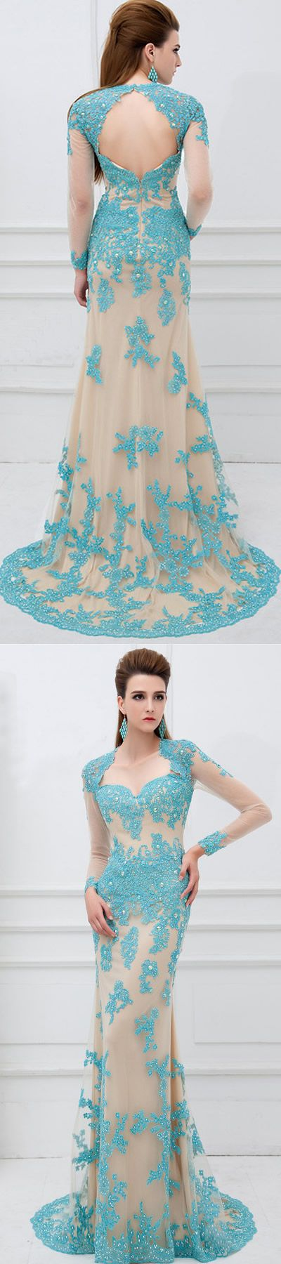 http://www.dressestime.com/ Turqoise Blue Small Train Muslim Mermaid Lace Beaded Formal Long Sleeve Prom Dress Gown,lace prom dress,beading Crystal Mermaid Lace Formal Evening Dresses With Long Sleeves