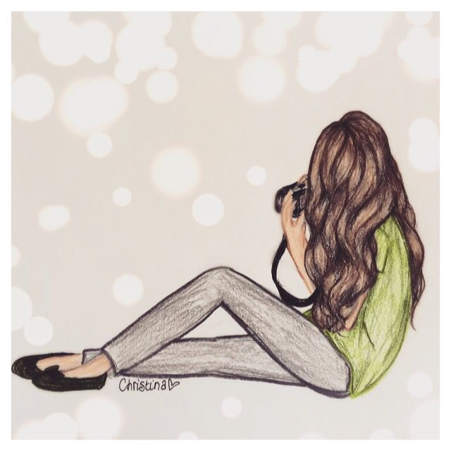 Drawing of a girl with a camera