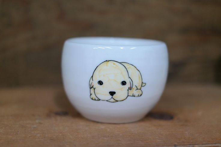 Hand painted animal cup - Cute cup -dog cup- unique cup - dog small cup -cute baby dog by CreativeStoneCera on Etsy