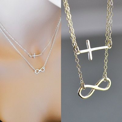 SALE 10% Infinity Cross Necklace, Double Strand Necklace, Sterling Silver Sideways Cross Necklace, Faith Forever Necklace by malizbijoux. Explore more products on http://malizbijoux.etsy.com
