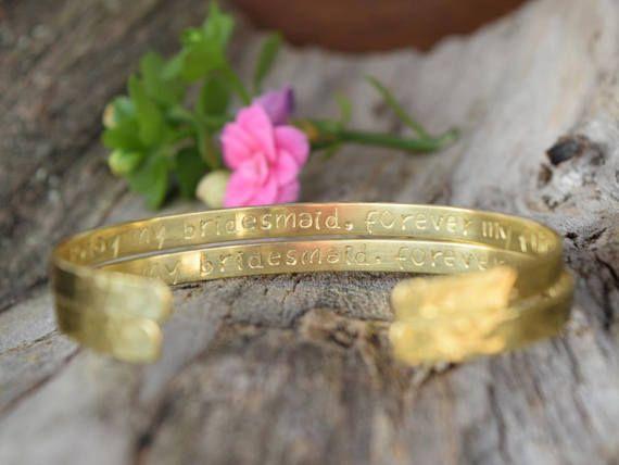Custom Bracelet Engraved Hammered Bridesmaid Silver Gold