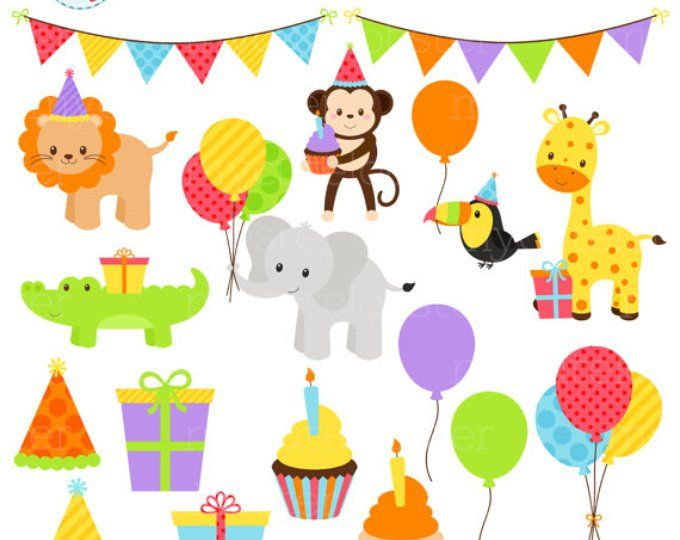 Cute Birthday Animals Clipart Set Clip Art Set Of Party Etsy Animal Clipart Clip Art Animal Birthday