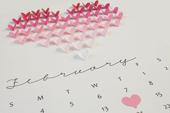 Handmade Customized Ombre Heart Calendar Page  - 1st anniversary gift, paper, wedding, Valentine, 3D, one of a kind