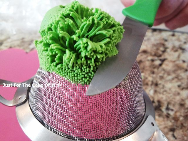 How To: Fondant grass using a sieve