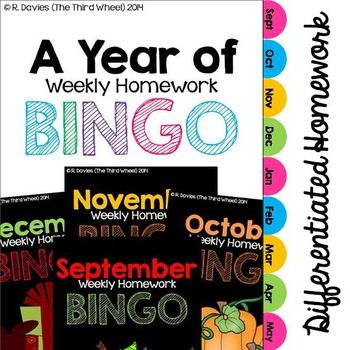 Differentiated Homework: A Year of Weekly Bingo Homework to Engage All Learners  This pack includes Weekly Homework Bingo boards designed to last you all school year! These boards are designed to simplify your homework process. Students get one board each week, and they must complete at least 10 boxes across the ENTIRE week.