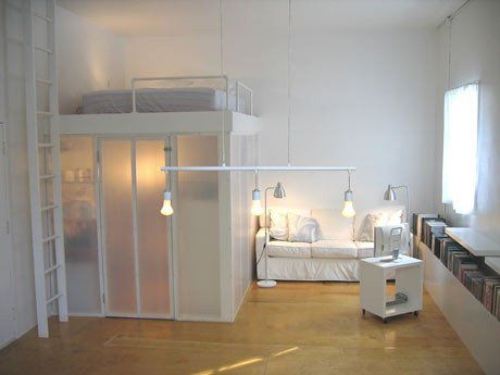 bed with office underneath. office underneath with translucent walls bed d