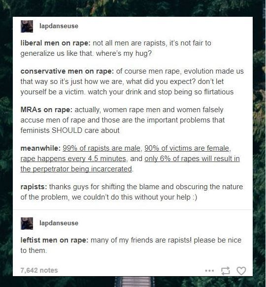 rape culture across the political spectrum. and i do care for male rape victims no matter who they were assualted by. my anti rape campaigns has a section for just them as well.