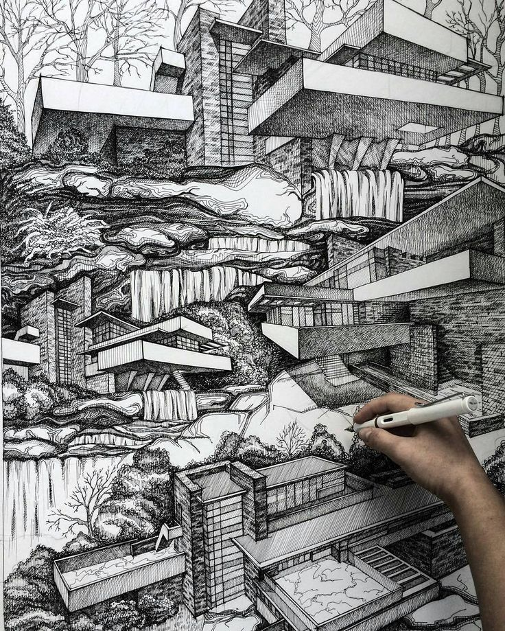 Wonderfully interesting and complex #architecture #illustration by @karaksina_art which depicts #FrankLloydWright's #Fallingwater house from multiple angles and blends the surrounding #landscape from each #viewpoint into a single #drawing. I am still amazed at how great this looks... It's like if #MCEscher decided to work with Wright on a crazy impossible #engineering and #architectural project. Or like a #realistic #cubism piece of #artwork. Love all the #details that were included:  every…