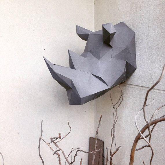 Modelo lowpoly Rhino Papercraft DIY