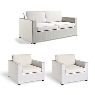 Palermo 3-Pc. Loveseat Set In White Finish – Sand With Canvas Piping – Frontgate  – Products
