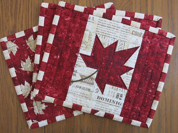 Oh Canada, our home and native land... Celebrate Canada Day, or any other day, with these patriotic mug rugs. Theyre great for coffee time, meal time as small place mats, hot pads on a buffet table, entertaining in general or anywhere in the house. 8 x 10 Made of quilters quality 100% cotton, prewashed 100% cotton low loft batting Machine quilted Care directions; * Wash cold water, gentle cycle with mild detergent * Add 1/3 cup white vinegar to wash cycle (safeguard against unlikely d...