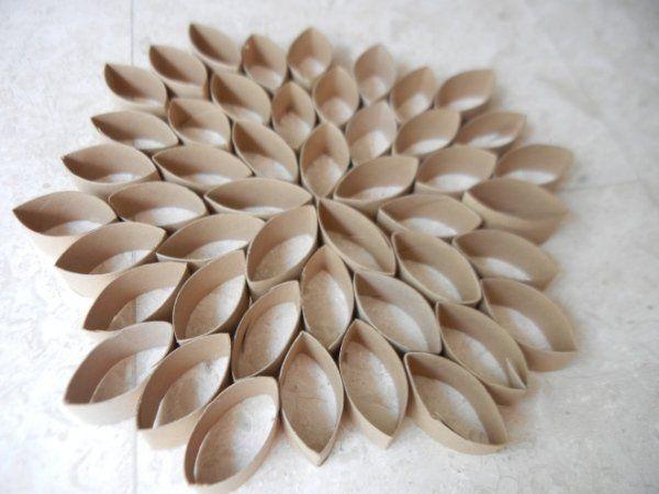 Flower Shape decorative crafts ideas toilet paper rolls