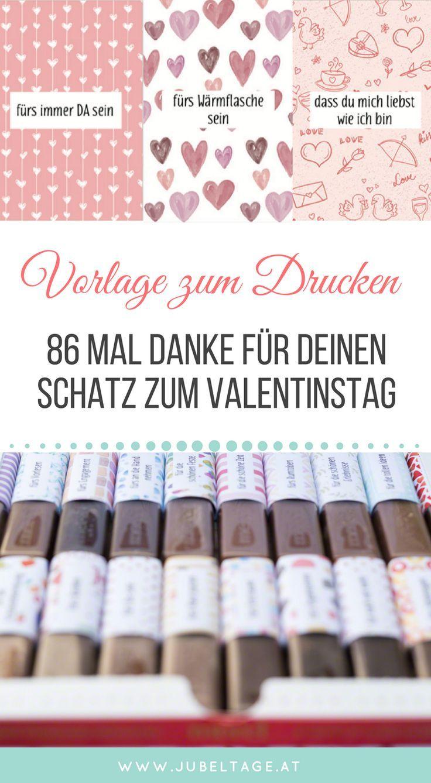 Merci Druckvorlage zum Valentinstag: 86 Mal Danke für deinen Schatz –