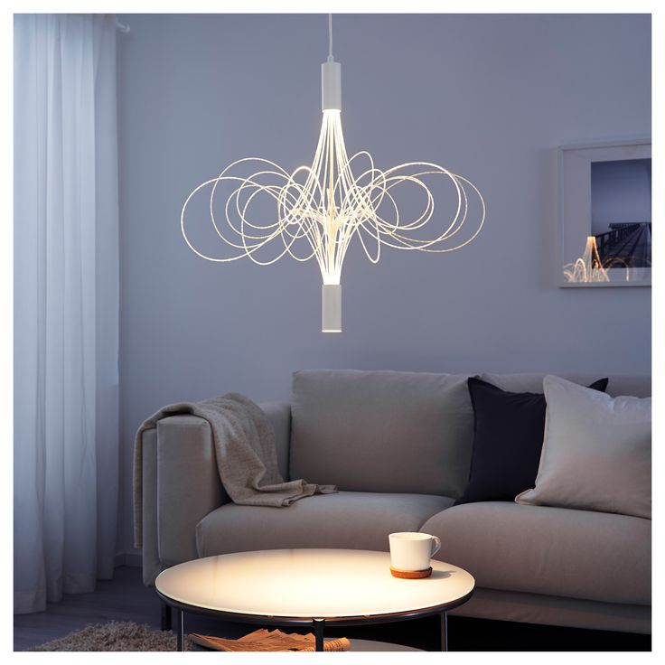 IKEA - ÄLVSBYN, LED chandelier, , The tubes with LEDs create exciting lighting effects and look like the path of fireflies flying in the air.The chandelier gives 2 different types of light: decorative mood light and directed light that's perfect for lighting up a dining or coffee table.You can choose to have both decorative and directed light on or only decorative light by pressing once or twice on the wall switch.Uses LEDs, which consume up to 85% less energy and last 20 times longer than…