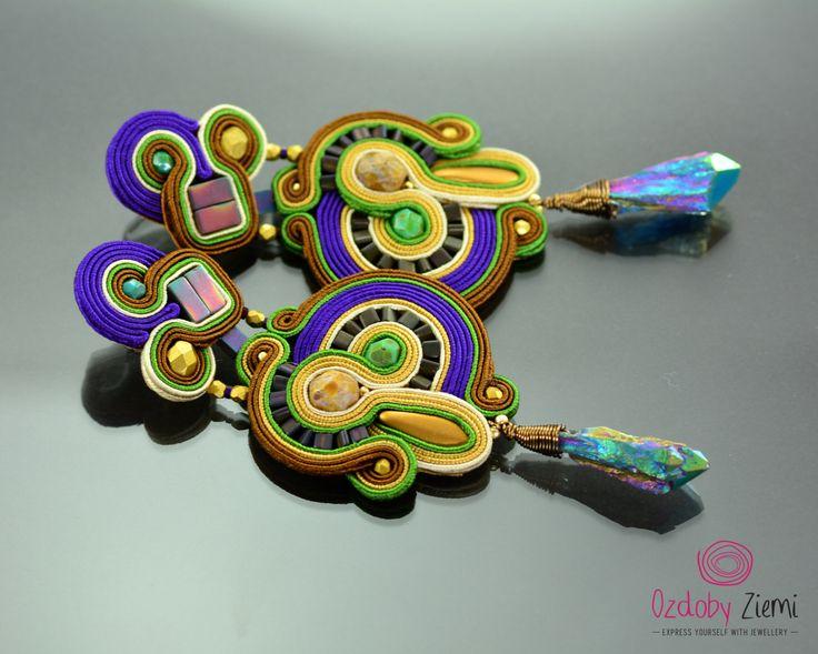 Clip on Long Gold Violet Soutache Earrings - Long Rainbow Earrings The Weeping Woman - Clip on Unique Oriental Earrings - Orecchini Soutache by OzdobyZiemi on Etsy