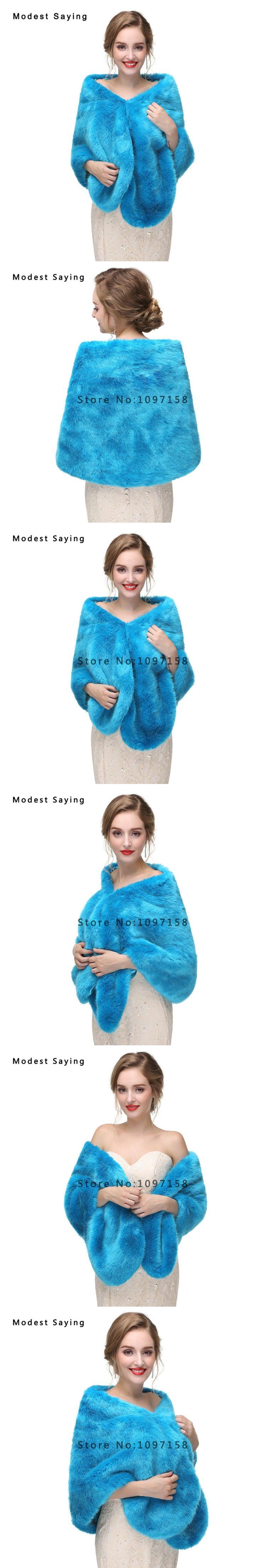 Elegant Blue Faux Fur Wedding Shawls 2017 Imitation Fox fur Bridal Wrap Warm Bolero for Evening Dress Winter Wedding Accessories