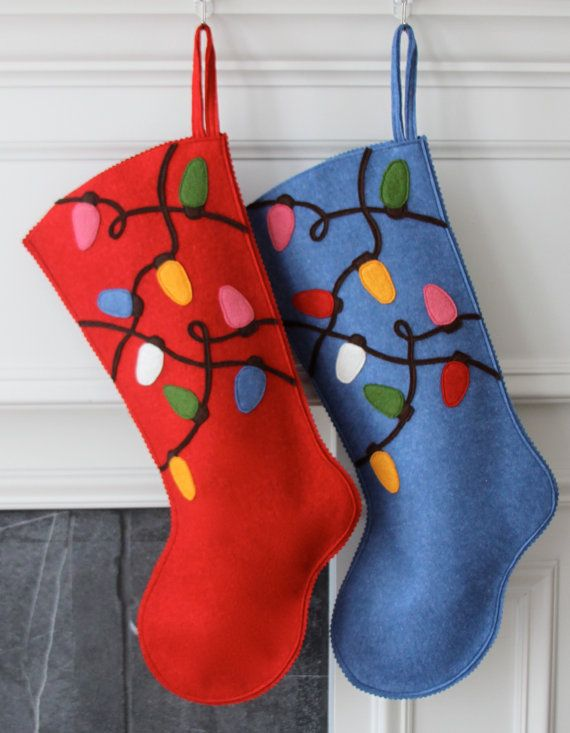 Handmade Wool Felt Christmas Stocking: Celebrate with a Tangled Light Bulbs Stocking at the Holidays!