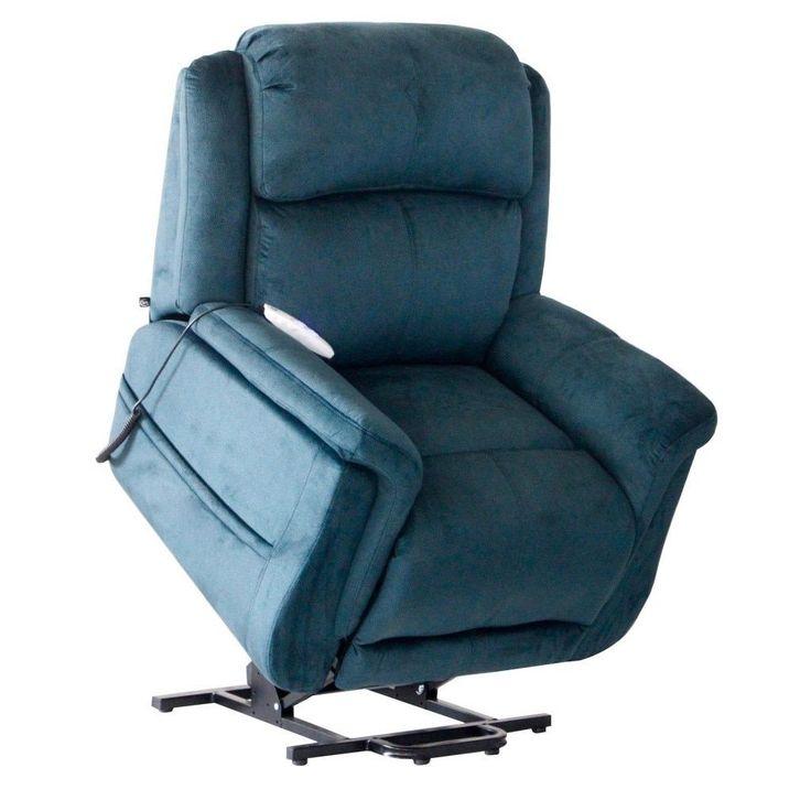 serta comfort lift hampton two motor infinite position power lift reclining chair seaglass blue - Serta Recliners