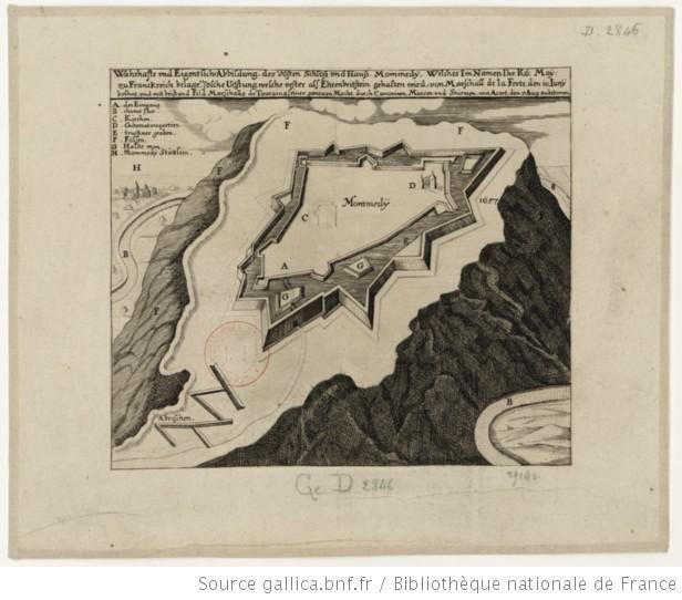 Wahrhafte und eigentliche Abbildung des vösten Schloss und Hanss Mommedy welches im Namen Ihrkö. May. zu Frankreich belagert, solche Vöstung...