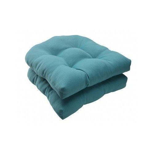 Wicker Seat Cushion Turquoise Blue Patio Chair Deck Porch Seating Decor Set of 2 #PillowPerfect