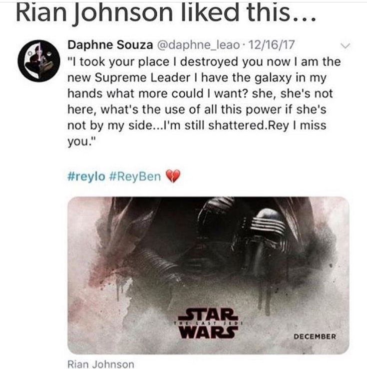 I found this on instagram i got it from@_reylo_ we all think rian johnson liked it bc he supports reylo