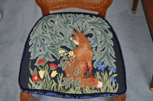 Fox chair seat - one of a set stitched by Susan Willson with designs from Beth Russell's Forest collection.