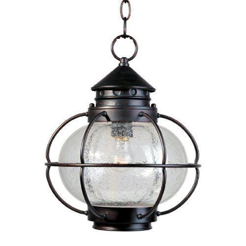 Maxim Lighting 30506CDOI Portsmouth Outdoor Pendant, Oil Rubbed by Maxim Lighting. Save 33 Off!. $115.02. From the Manufacturer                Finish: Oil Rubbed Bronze, Glass:Seedy, Light Bulb:(1)100w A19 Med F Incand From the Portsmouth Collection, this 1 light exterior pendant features Seedy Glass. Finished in Oil Rubbed Bronze. .                                    Product Description                Maxim 30506CDOI Portsmouth 1-Light Outdoor Hanging Lantern Portsmouth is a traditional…