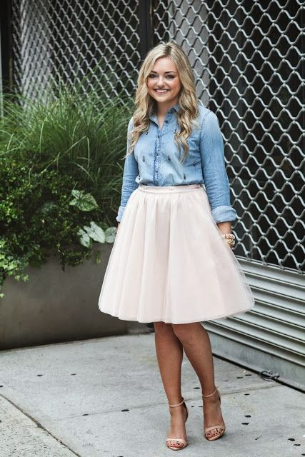 Trending: Tulle skirts and how to wear them. The obvious answer is a denim chambray.