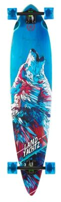 Perfect longboard Bamboo Pinner 2015 - in intensive blue colour with the wolf