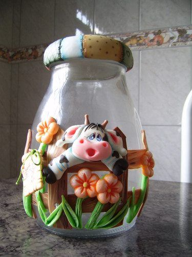 frascos decorados en masa