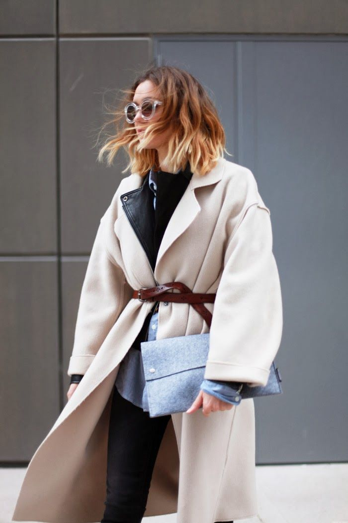 oversize belted cream coat