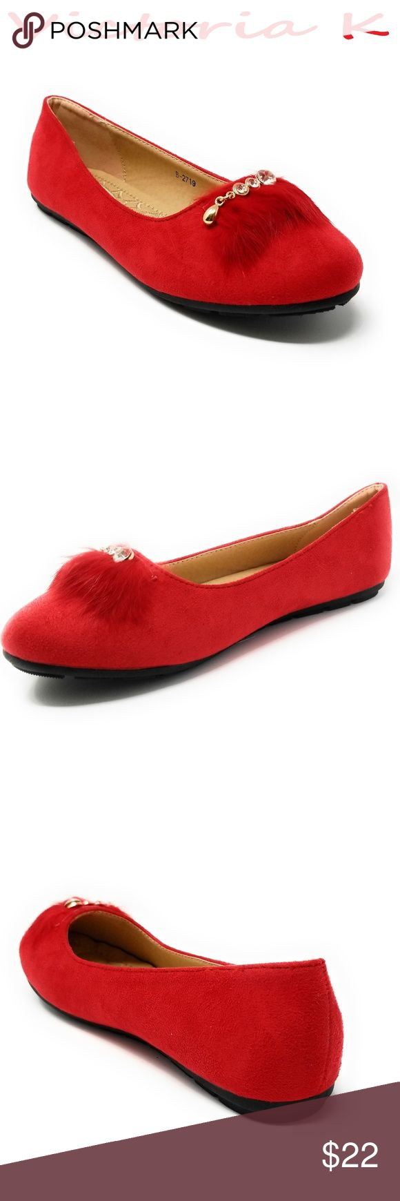 """Women Feather Embellished Buckle Flats, B-2719 Red Brand new woman beautiful flats with a feather embellished crystal studded buckle. Diligently crafted from glossy faux leather upper with extra soft insoles and a textured rubberized outer sole for traction.  Measurements: sizes 6 through 8 are true to size. Sizes 8.5 - 11 run small. Standard 3 """" width. Size 8 measures 9.5 inches, sz 8.5 - 9 3/4"""", sz 9 - 10"""", sz 10 - 10.5"""", size 11 fits a true size 9.5 wearer. Slip it on and make a true…"""