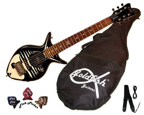 """Bonefish with Speaker by Goldfish Guitars. $189.00. Introducing the Bonefish with speaker!    All ages will love this Fish bones black and white guitar The Bonefish is a lightweight short scale guitar (22 1/2"""") measuring 32"""" in total length. Guitar has 20 frets, rosewood fretboard, quality tuners, and metal trussrod to keep the neck straight.   The Bonefish contains a battery-operated speaker with volume control knob (9 volt not included) or can be plugged into any amp (amp..."""