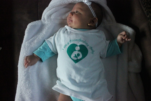 My beautiful daughter at 2 months old...WIC gives these cute little shirts out. They are finally rewarding women who breastfeed their babies by giving them more food and less formula and food to women who choose not to breastfeed.