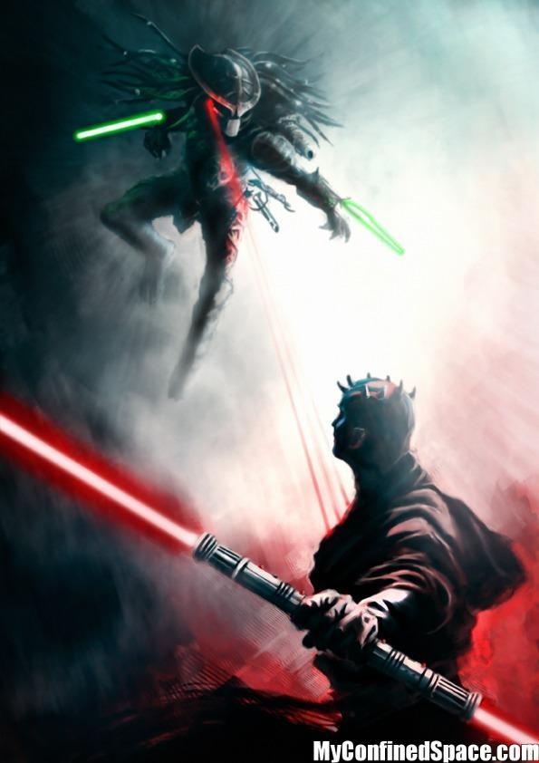Predator Vs Maul: Geek, Predator, Stars, Scifi, Illustration, Star Wars, Darth Maul, Sci Fi, Starwars