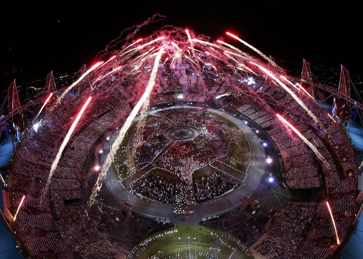 2012 London Olympics Opening Ceremony Fireworks show. Love this angle.