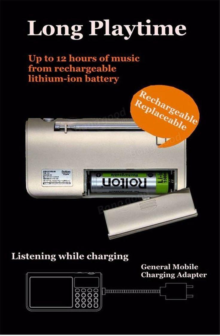 Rolton T50 Altavoz Portátil de Banco Mundial Radio Estéreo FM/MW/SW con Reproductor MP3 Soporta Tarjeta SD/TF