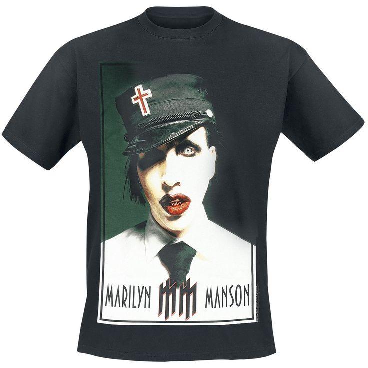 """Classica T-Shirt uomo nera """"Poster Boy"""" di #MarilynManson con ampia stampa frontale."""