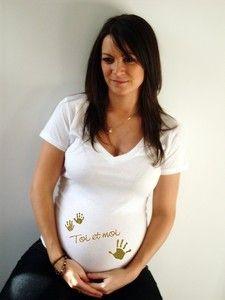 """Tee shirt de grossesse """"Toi et moi"""" - Vetement grossesse fashion, Vetement maternite, vetements femme enceinte"""