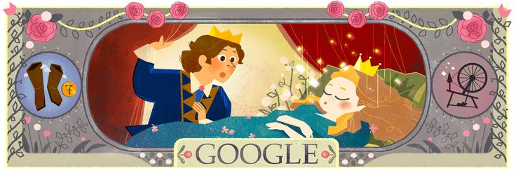"Today's Google logo has been replaced with series of Doodles to honor Perrault classics like ""Cinderella"" and ""Sleeping Beauty."""