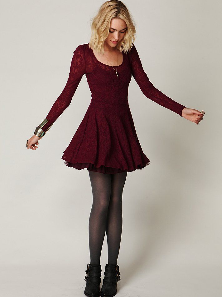 Burgundy skater dress with lace sleeves, black tights and boots. Perfection.