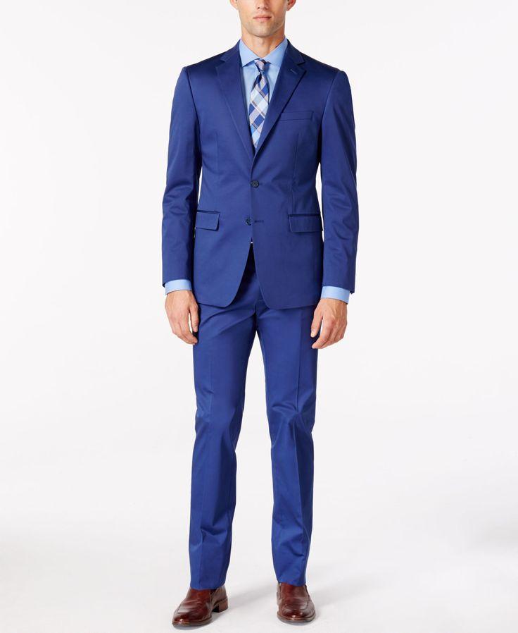 Calvin Klein X-Fit Blue Cotton Solid Slim-Fit Suit