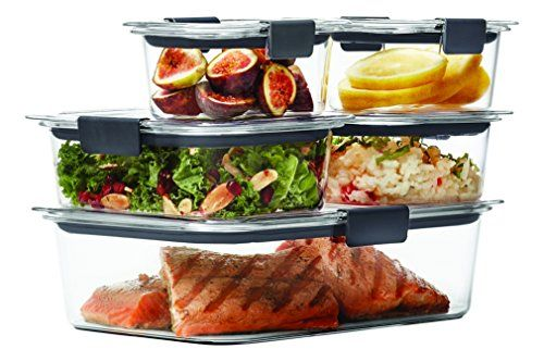 Rubbermaid Brilliance Food Storage Container, 10-Piece Set, 100% Leak-Proof, Plastic, Clear - Thanks to its airtight seals and secure latches, this set of Rubbermaid Brilliance Food Storage Containers is guaranteed not to leak, allowing mess-free transport of your favorite foods—even soups, stews, and sauces. Each piece also sports a modular design that allows convenient stacking i...