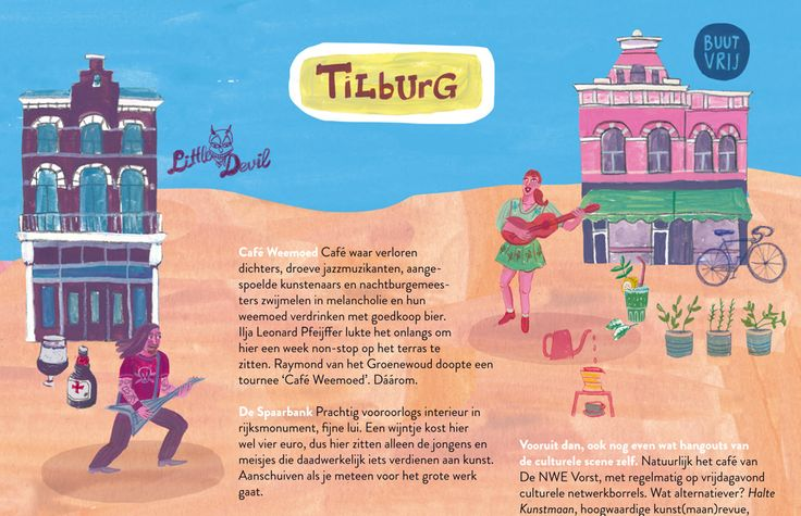 Detail of illustration by Marjolein Schalk for MEST Magazine #8; hotspots Little Devil and Buutvrij in Tilburg.