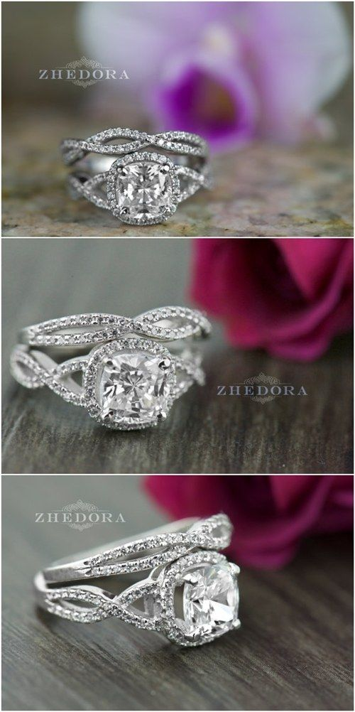 3.5 CT Radiant Cushion Cut Engagement Ring Bridal Band Set in Solid 14k or 18k /  / http://www.deerpearlflowers.com/twisted-engagement-rings-wedding-rings/